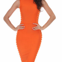 'Muse' Side Weave Bandage Dress - Orange