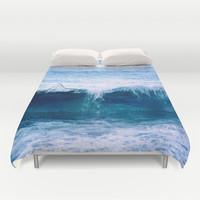 Blue Ocean Wave Crashing to the Beach Duvet Cover by Vermont Inklings | Society6