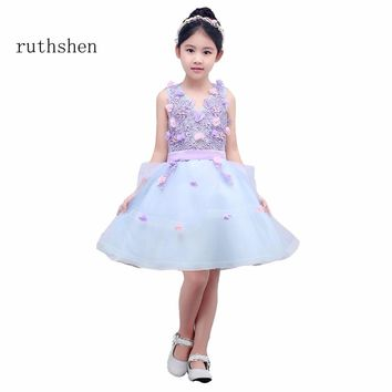 ruthshen A Line Flower Girl Dress For Evening Prom Party Kid Prom Dresses For Wedding Party Gown With Sleeveless Knee Length