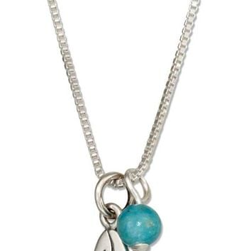 """Sterling Silver 18"""" Surfboard Pendant Necklace With Blue Riverstone Bead"""