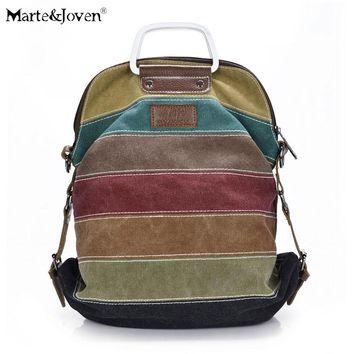 Fashion Multicolor Striped Patchwork Design Women Canvas Crossbody Hobo Bag Multi-Function Girls Casual Shoulder Messenger Bags
