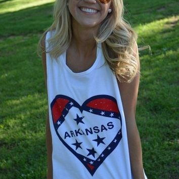 Arkansas Pride Tank Top in White