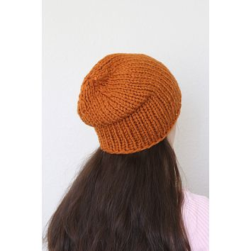 Beanie hat, knit hat, slouchy hat, knit beanie in rust orange color
