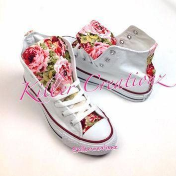 ICIKGQ8 custom floral high top converse made to order any size