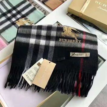 BURBERRY Fashionable Women Men Embroidery Plaid Cashmere Cape Scarf Scarves Shawl Accessories Black