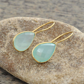 Aqua Chalcedony Faceted Pear Gemstone Dangle Earrings, 925 Sterling Silver Bridesmaid Earrings with Micron Gold Plated, 10x15mm #1587