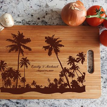 ikb613 Personalized Cutting Board Hawaii beaches wooden wedding gift wedding