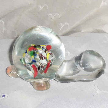 MURANO GLASS SNAIL Paperweight 10 ounces Collectible Very Cute