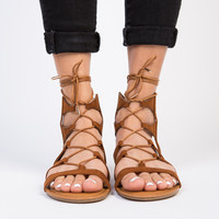 Suede Lace-Up Sandals