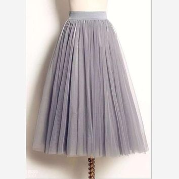 women Puff Mesh Tulle Skirt White Faldas High Waist Pleated Maxi Long Tulle Skirts Plus Size 3 Layers With Liner