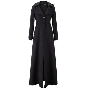 6fb2bd7982 Vintage Woolen Long Trench Coat Women Winter 2018 High Waist Sli