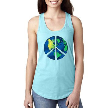 Ladies Peace Sign Tank Top Blue Earth Ideal Tanktop
