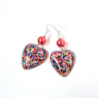 Adorable candy sprinkles heart earrings - cupcake sprinkles heart earrings - kawaii candy resin heart earrings by Sparkle City Jewelry