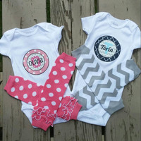 Personalized Baby Boy or Girl Onesuit -  twins -  birthday -  photos -  family