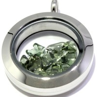 Tumbled Moldavite Floating Locket Stainless Steel Pendant