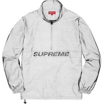 DCCKUN2 Supreme 17ss Reflective Half Zip Pullover 3m Full reflection submachine coat