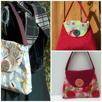 Selection of Three Mini Bags with Handmade Ceramic Button Your Choice of One