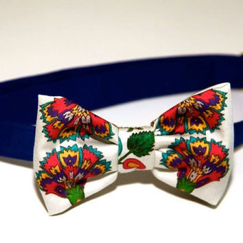 100% cotton unisex printed bow tie / pre-tied / adjustable