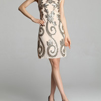 Lilia - 1920s Inspired Sequin Gatsby Dress Formal Dress (Beige Color) f031