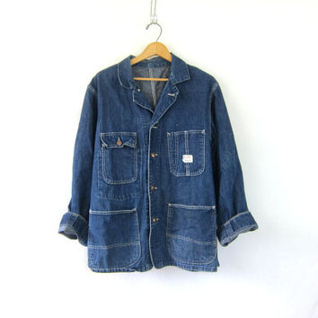 1950s Vintage Sanforized Denim Chore Jacket. BIG MAC Denim Jean Jacket. Penneys Denim tomboy work barn coat / distressed big pockets