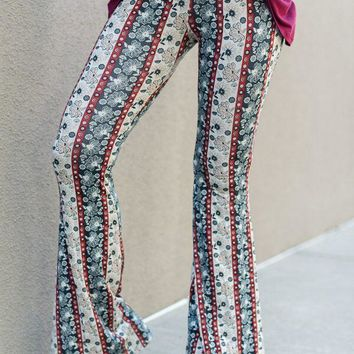 Cher Printed Flare Pants - Floral Teal