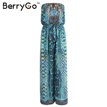Berrygo Causal Boho Elastic Chiffon Drilling Playsuit Summer Beach Leopard Women Jumpsuit Romper Elegant Sexy Women Overalls