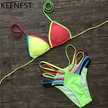 KEENEST Sexy Tanga Neon Bikini Strappy Fluorescent Colors Swimsuit Rainbow Swim Wear Women's Thong Bottom Bathing Suit