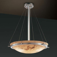 Justice Design Group FAL-9692-35-NCKL-LED-5000 LumenAria 24-Inch Round 5000 Lumen LED Bowl Pendant with Ring