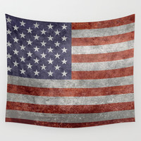 Flag of the United States of America - Vintage Retro Distressed Textured version Wall Tapestry by LonestarDesigns2020 - Flags Designs +
