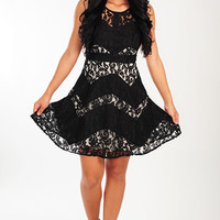 Lace Against Time Dress: Black