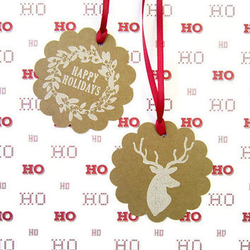 "2.25"" Kraft Round Tag / Christmas Hanging Labels / Gift Label / Gift Tag/ Holiday Wreath and Reindeer Tags / Red Ribbon Included /  Set of 6"