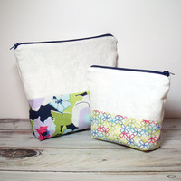 Linen Cosmetic Bags - Set of 2 - Floral Makeup Bags - Spring Zipper Bags - Jewelry Storage Pouch - Navy Blue Floral