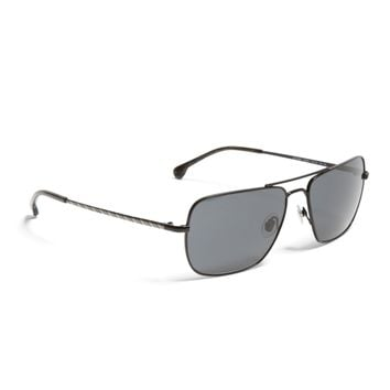 Black Metal Navigator BB No.1 Stripe Arm Sunglasses | Brooks Brothers