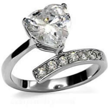 Heart's Promise - Cubic Zirconia's Heart Adorable Design Stainless Steel Engagement Ring