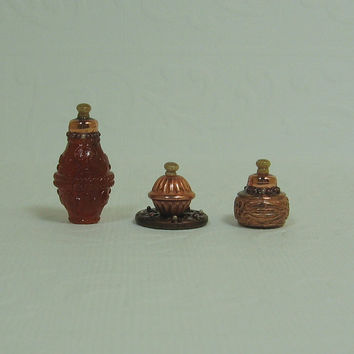 Dollhouse Miniature Set of Three Fancy Bottles with Copper