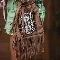 Fringed Brown Leather Festival Bag from Lindi Kingi Design