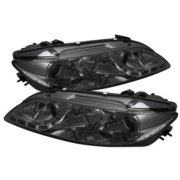 Mazda 6 03-05 With Fog Lights Projector Headlights - LED Halo - DRL - Black - High H1 (Included) - Low H1 (Included)