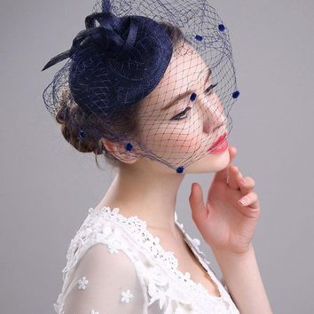 Royal Blue Small Wedding Veils Bird Cage Net Bridal Veils Accessory Bridal veil with feather
