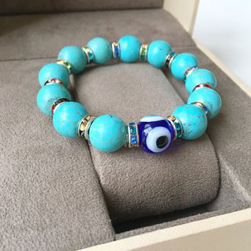 Evil eye bracelet, turquoise bead bracelet, nazar boncuk, blue evil eye beads, glass evil eye