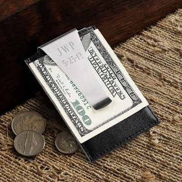 Free Engraved Leather Money Clip Wallet with Card Holder