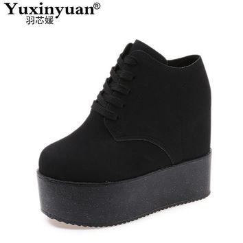 Woman Fashion Hidden Wedge Heel Lace Up Casual Shoes spring autumn women's ultra high