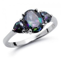 Sterling Silver SIMULATED OVAL Rainbow Topaz Mystic HEART Shape Stones Engagement Ring