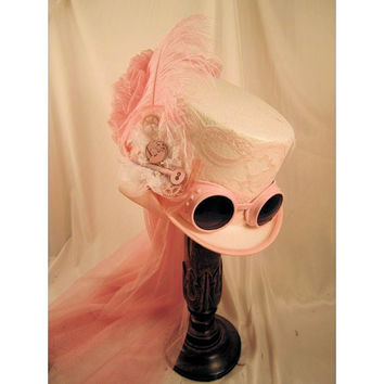 Steampunk White Riding Hat 14004PKN