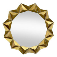 Three Hands Polygon Gold Wall Mirror