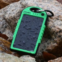 Solar Charger,Levin 6000mAh Rain/Dirt/Shockproof Dual USB Port Portable Charger Backup External Battery Power Pack for iPhone , iPad Air, Other iPads, iPods(Apple Adapters not Included), Samsung Galaxy, Most Kinds of Android Smart Phones and Tablets, and M