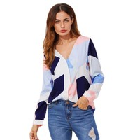 V Neckline Patchwork Blouse Long Sleeve Color block Equipment Casual Top With Button Women Work Blouse
