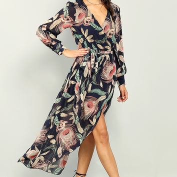 Surplice Front Belted Maxi Dress
