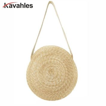 Designer Women Messenger Bag Vintage Travel Handbags Big Circle Straw Bag Luxury Women Summer Bags for Large Beach bag LW-90