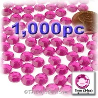 The Crafts Outlet 1000-Piece Flat Back Round Rhinestones, 7mm, Hot Pink/Rose