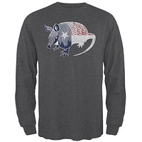 Armadillo Texas State Flag Distressed Silhouette Mens Long Sleeve T Shirt